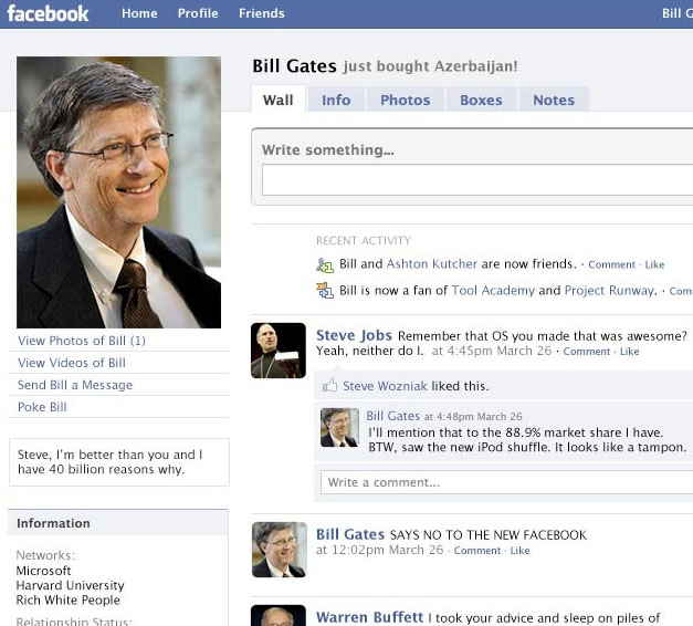 Previous exles of facebook interface humor and or stories