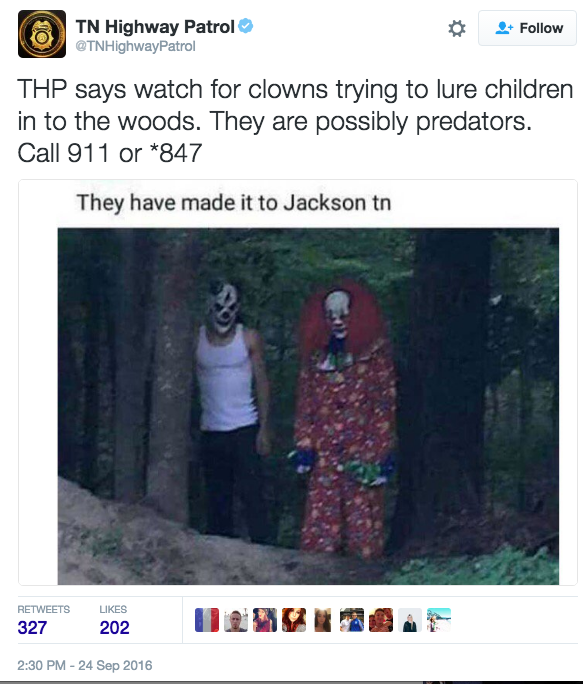 Clowns Tennessee HighPatrol tweet 1