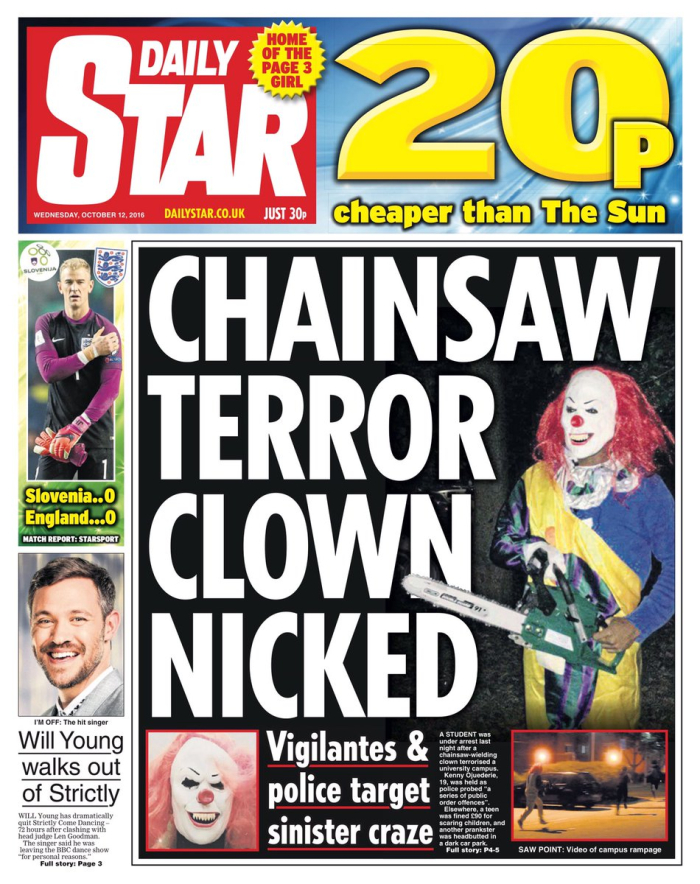 Clown chainsaw terror nicked