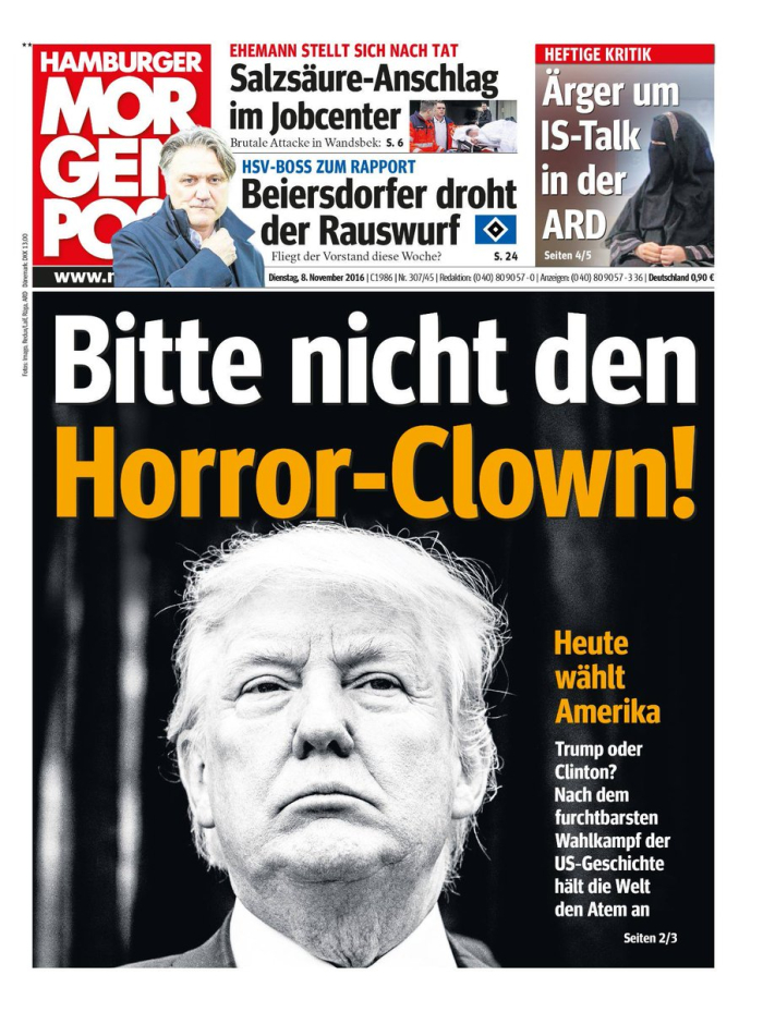 Trump as horror clown_Hamburger Morgenpost