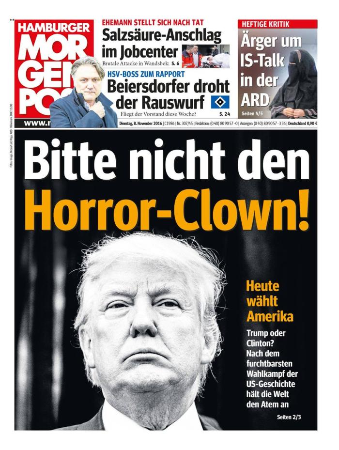 Trump as horror clown_Hamburger Morgenpost