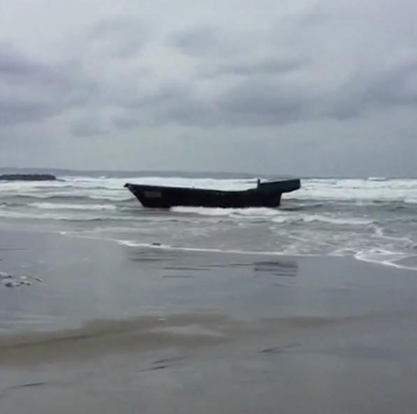 Skeleton boat found on Japanese beach