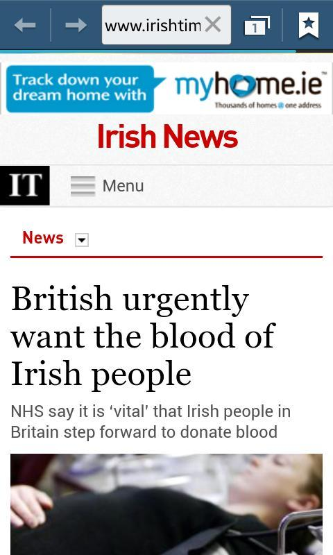Irish blood wanted