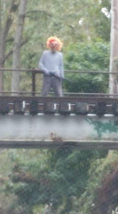 Clown with a gun on a bridge 1