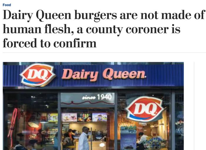Dairy Queen flesh burgers