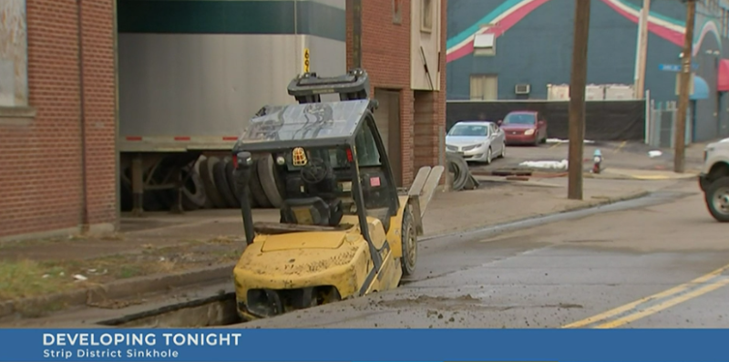 Sinkhole Pittsburgh forklift