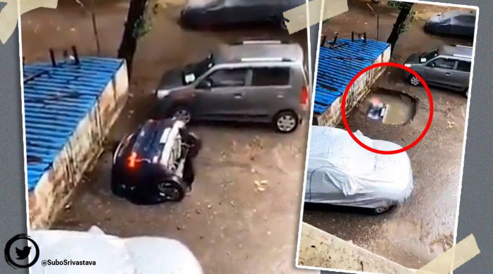 Mumbai-car-sinkhole
